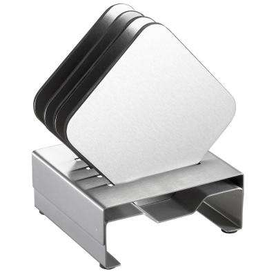 Pascal Stainless Steel Square Coaster Set with Holder