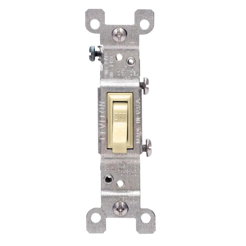 Leviton 15 Amp Single Pole Switch, Ivory (10-Pack)