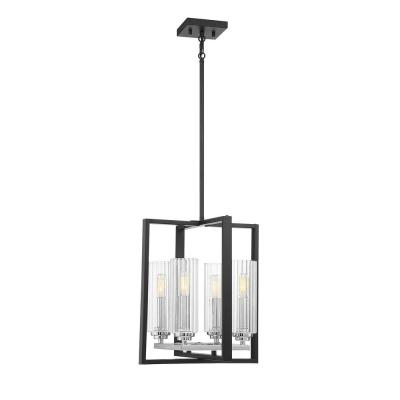 4-Light Matte Black with Polished Chrome Accents Pendant with Clear Ribbed Glass