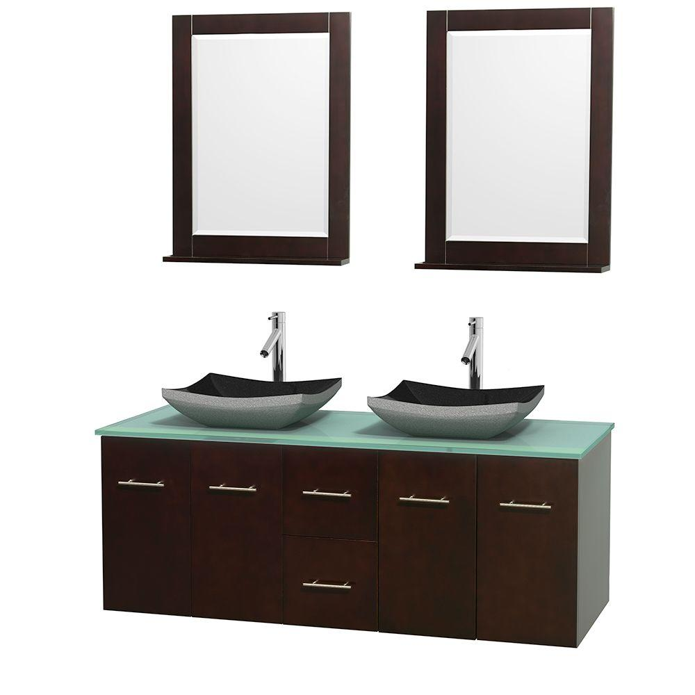 Wyndham Collection Centra 60 in. Double Vanity in Espresso with Glass Vanity Top in Green, Black Granite Sinks and 24 in. Mirrors