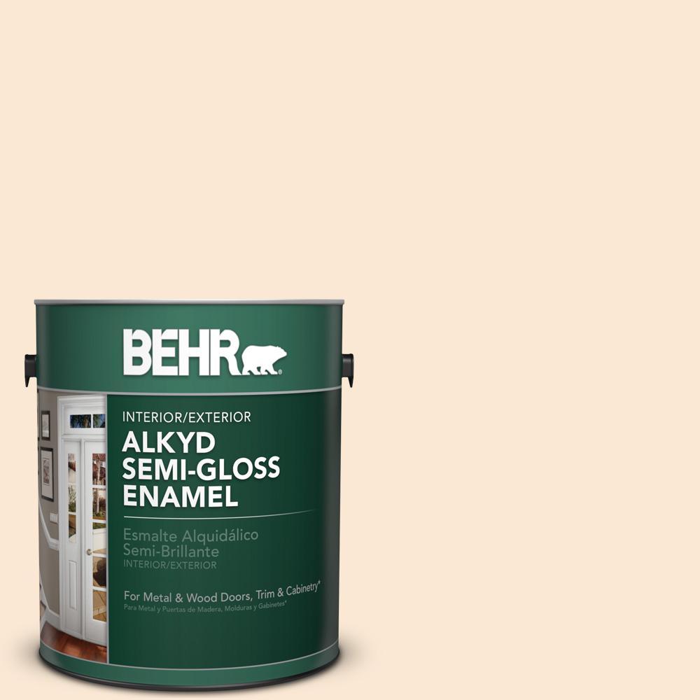BEHR 1 gal. #OR-W5 Almond Milk Semi-Gloss Enamel Alkyd Interior ...