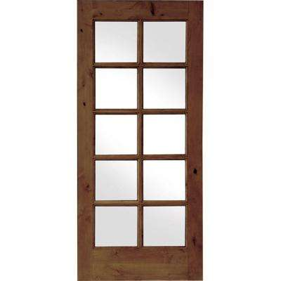28 in. x 80 in. French Knotty Alder 10-Lite Tempered Glass Solid Left-Hand Wood Single Prehung Interior Door