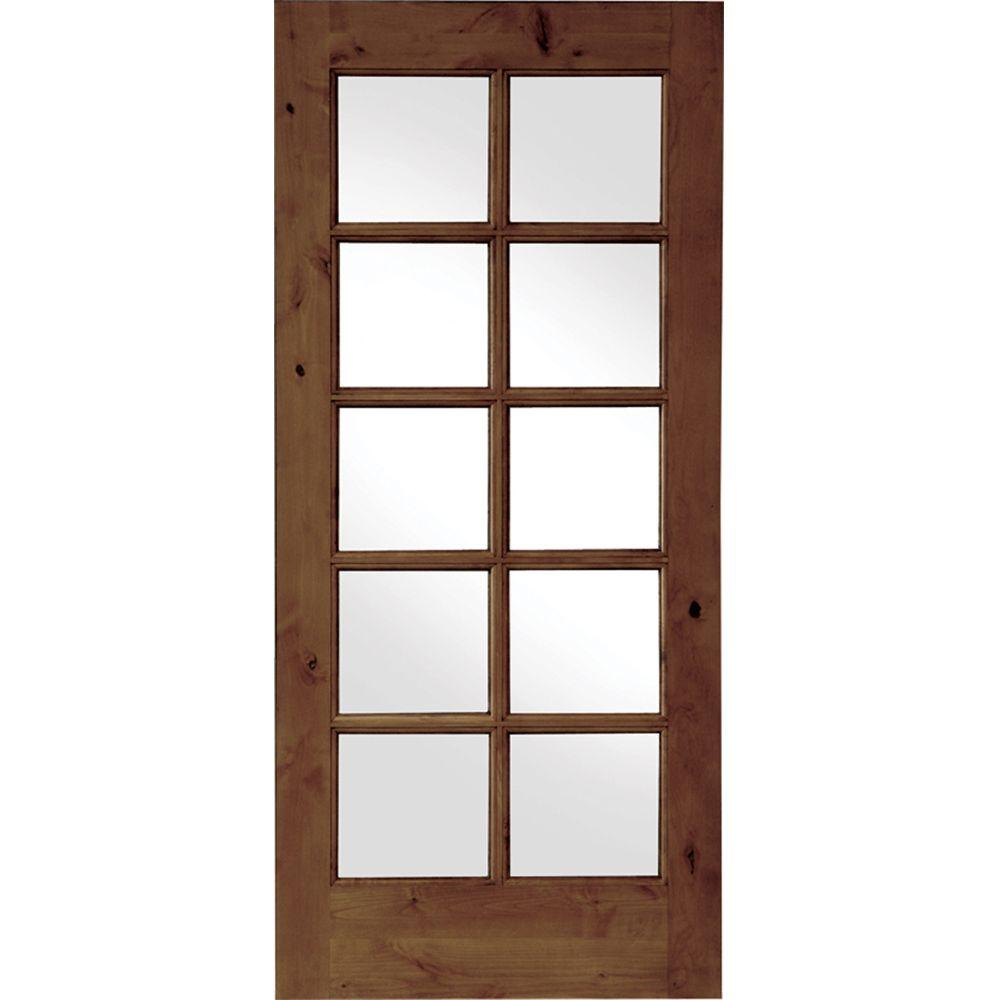 32 in. x 80 in. French Knotty Alder 10-Lite Tempered Glass