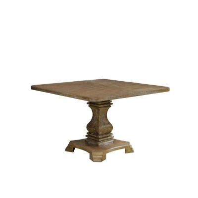 Traditional Style 30 in. H Brown Wooden Square Top Dining Table with Pedestal Base