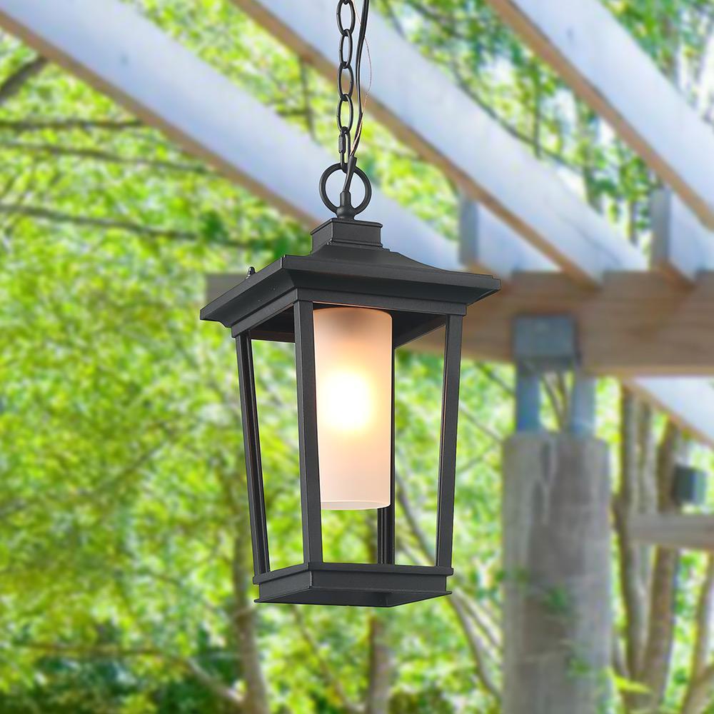 Harper 1-Light Black Modern Outdoor Hanging Lantern with Frosted Cylinder Glass LED Compatible Pendant Light