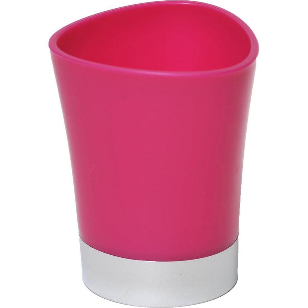 Bath Tumbler Toothbrush Holder Chrome Base Pink