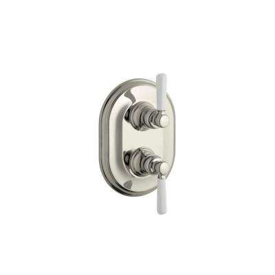 Bancroft 2-Handle Thermostatic Valve Trim Kit in Vibrant Polished Nickel with Ceramic Lever Handle (Valve Not Included)