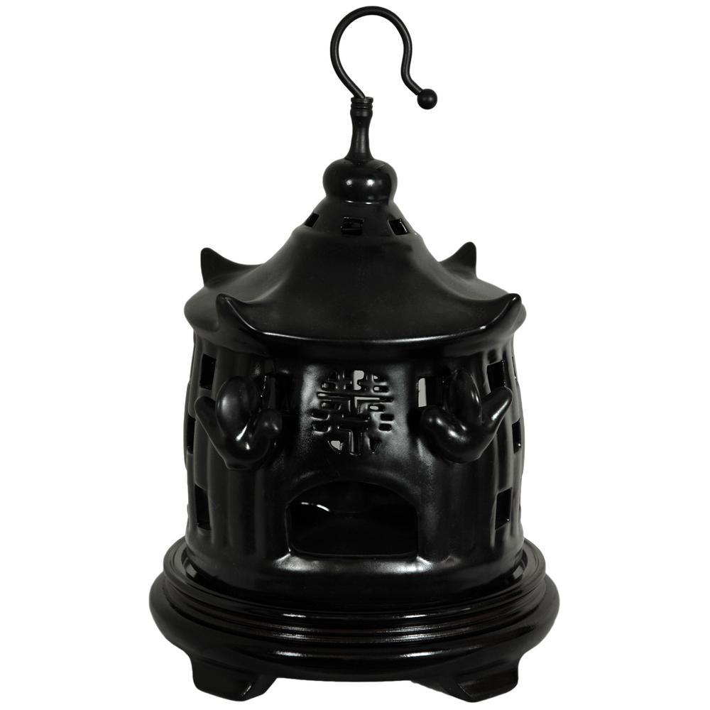 Oriental Furniture 11 in. Solid Black Porcelain Bird Cage