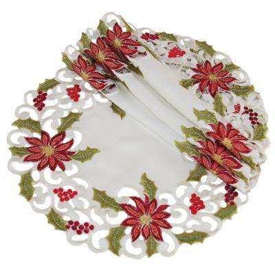 16 in. Poinsettia Lace Embroidered Cutwork Round Doily (4-Set)