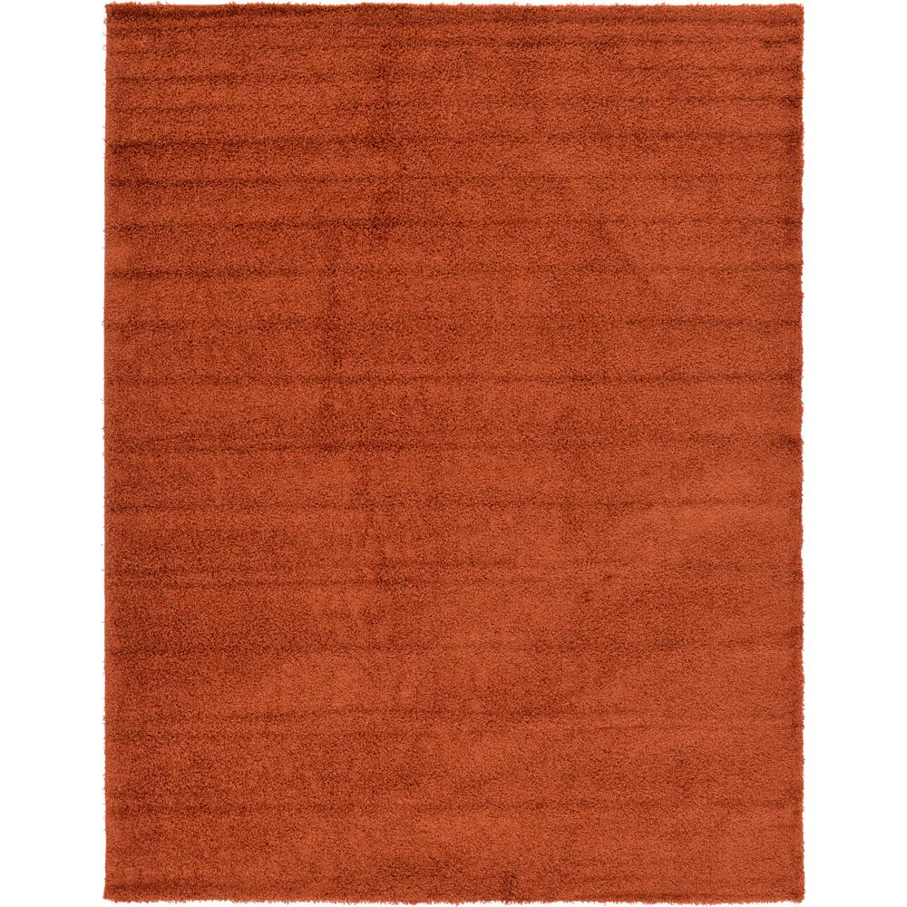 Unique Loom Solid Shag Terracotta 10 Ft X 13 Ft Area Rug