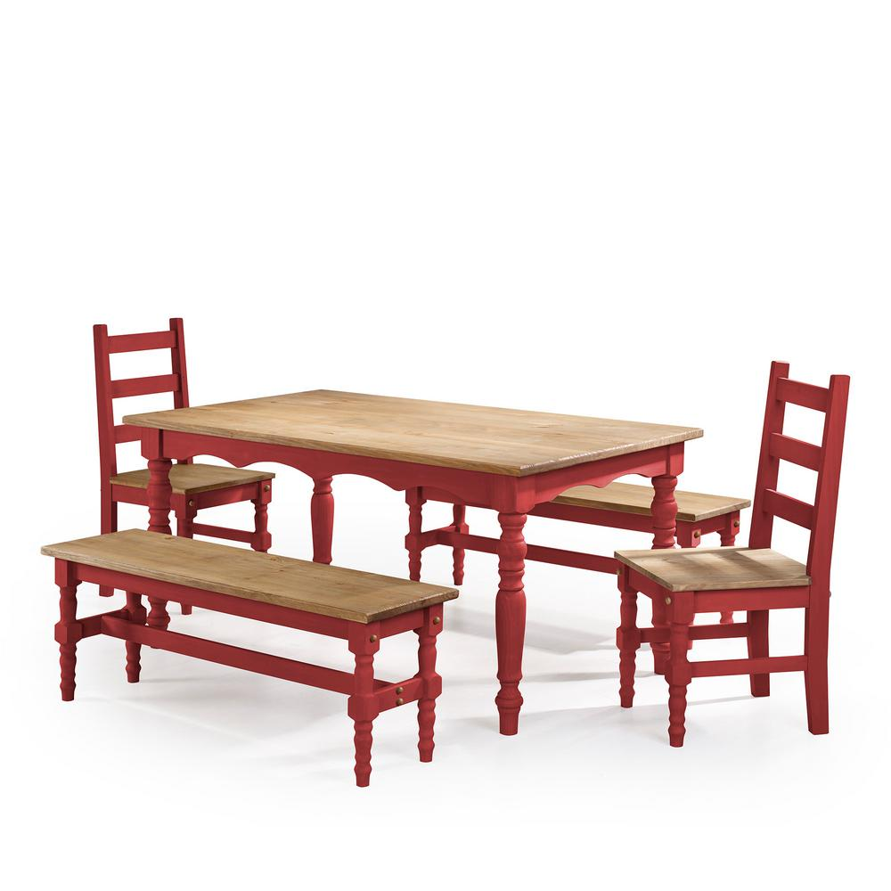 Manhattan Comfort Jay 5 Piece Red Wash Solid Wood Dining Set With 2 Benches