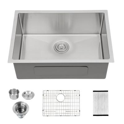 Stainless Steel 32 in. Single Bowl Undermount Kitchen Sink with Accessories