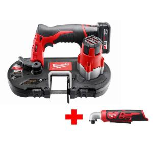 Milwaukee M12 12-Volt Lithium-Ion Cordless Sub-Compact Band Saw XC Kit with Free M12 Righ Angle Impact Driver by Milwaukee