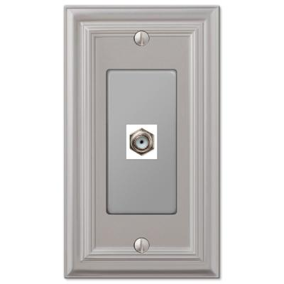 Continental 1 Gang Coax Metal Wall Plate - Satin Nickel