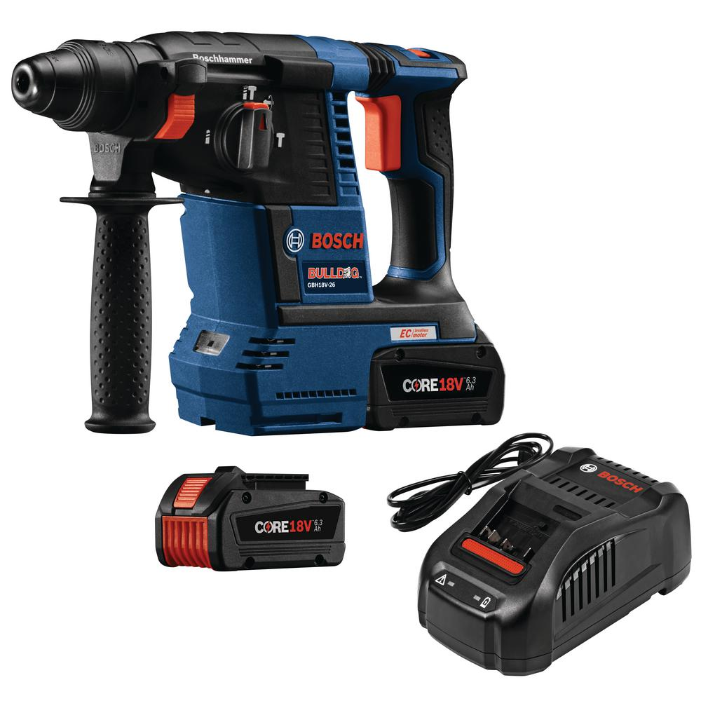 bosch bulldog 18 volt cordless 1 in sds plus variable speed rotary hammer kit with 2 core 18. Black Bedroom Furniture Sets. Home Design Ideas