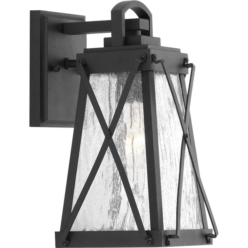 Progress Lighting Creighton Collection 1-Light Black 11.5 in. Outdoor Wall Lantern Sconce