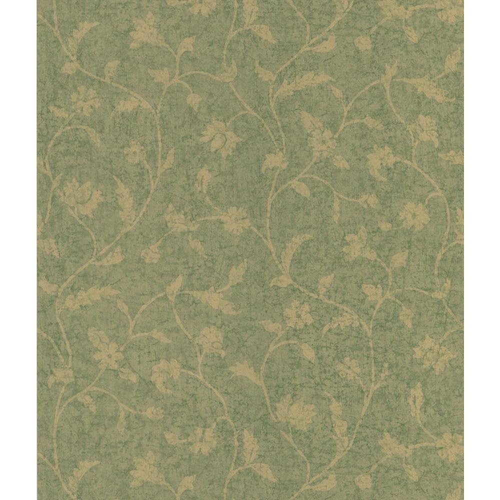 National Geographic Green Batik Floral Trail Wallpaper