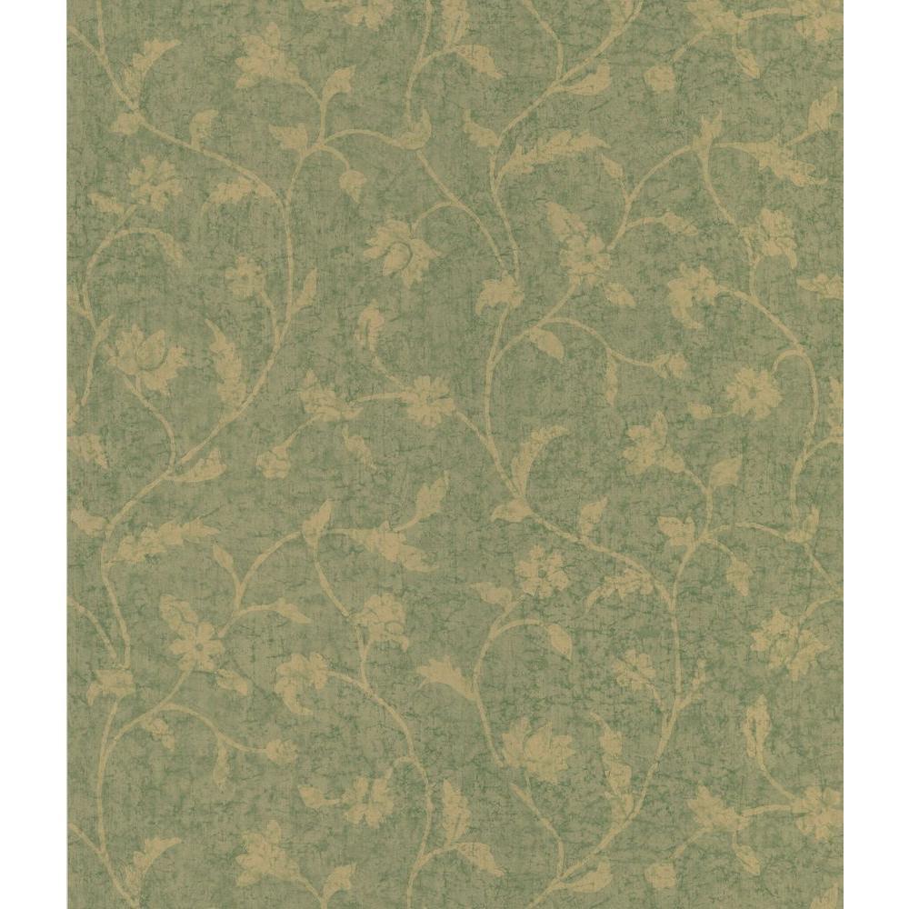 Green Batik Floral Trail Wallpaper Sample