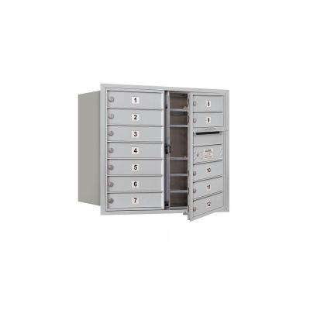3700 Series 27 in. 7 Door High Unit Aluminum USPS Front Loading 4C Horizontal Mailbox with 12 MB1 Doors