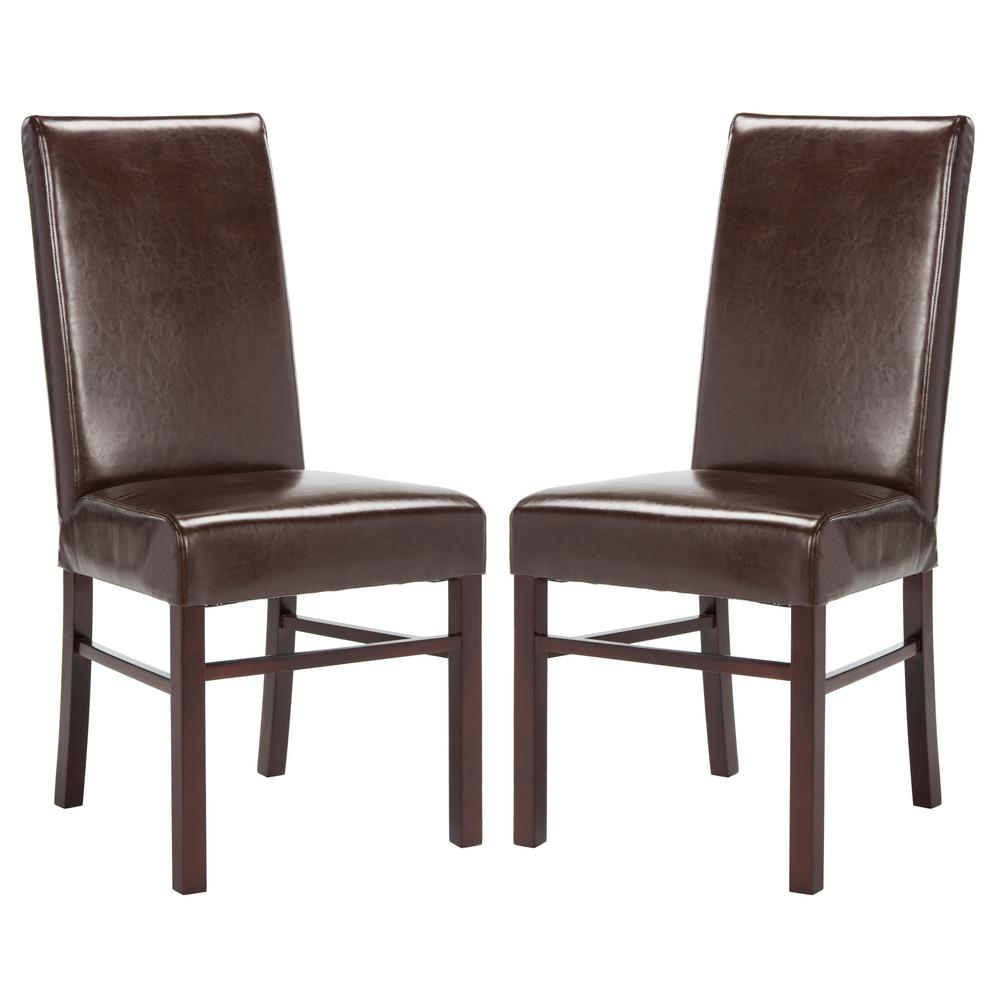 Safavieh lester sky blue linen blend dining chair set of for Brown leather dining chairs