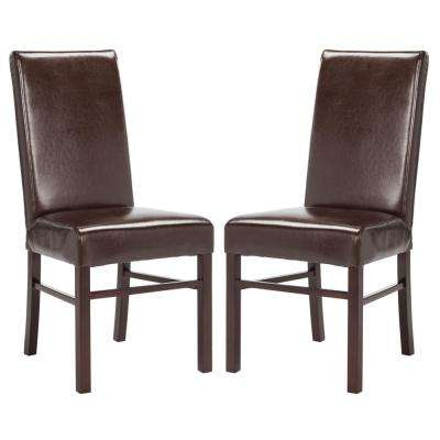 Brown Leather Dining Chair (Set of 2)