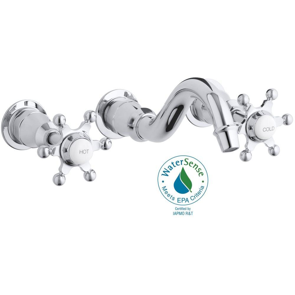 Antique 8 in. 2-Handle Wall-Mount Low-Arc Bathroom Faucet Trim Only in