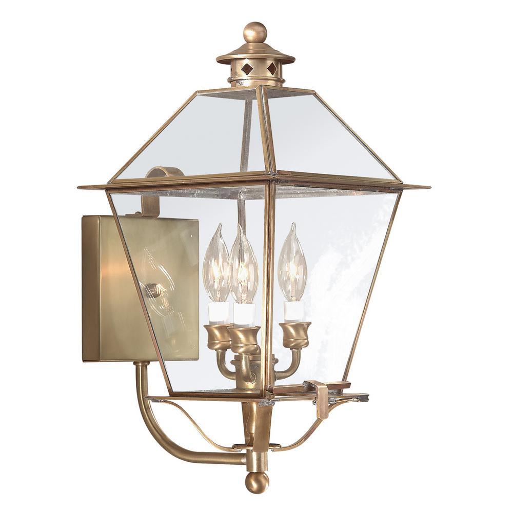 Montgomery 3-Light Natural Aged Brass Outdoor Wall Mount Lantern
