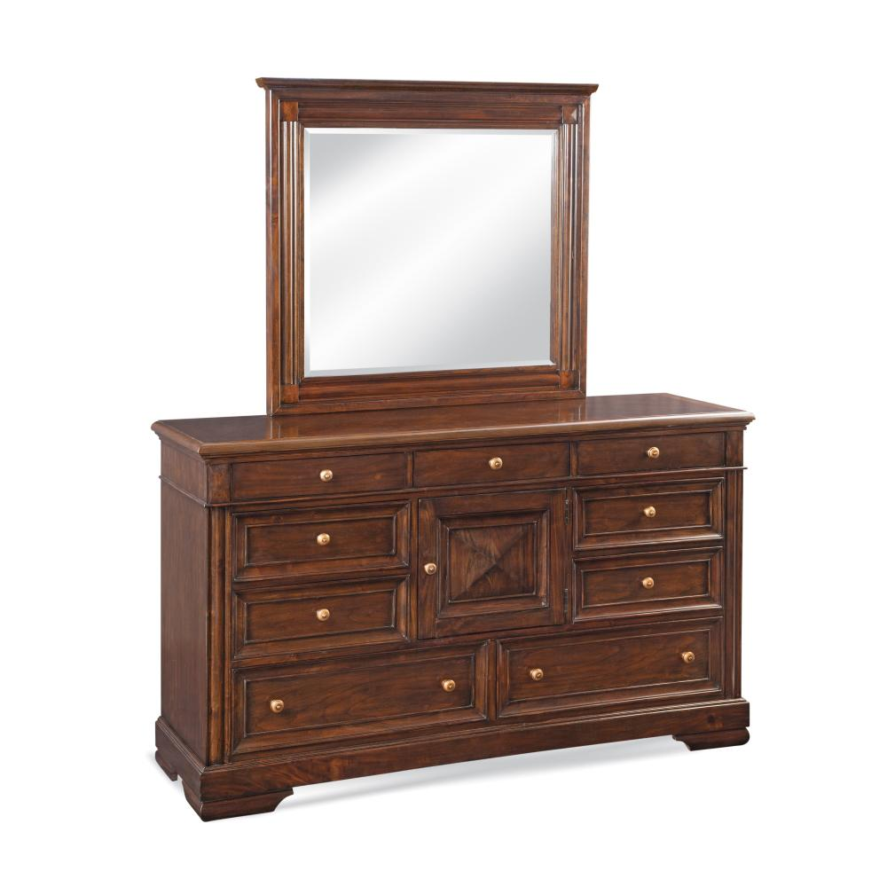 American Woodcrafters Tuscaloosa 9 Drawer Dark Chestnut Dresser With Mirror 1707 Dlm The Home