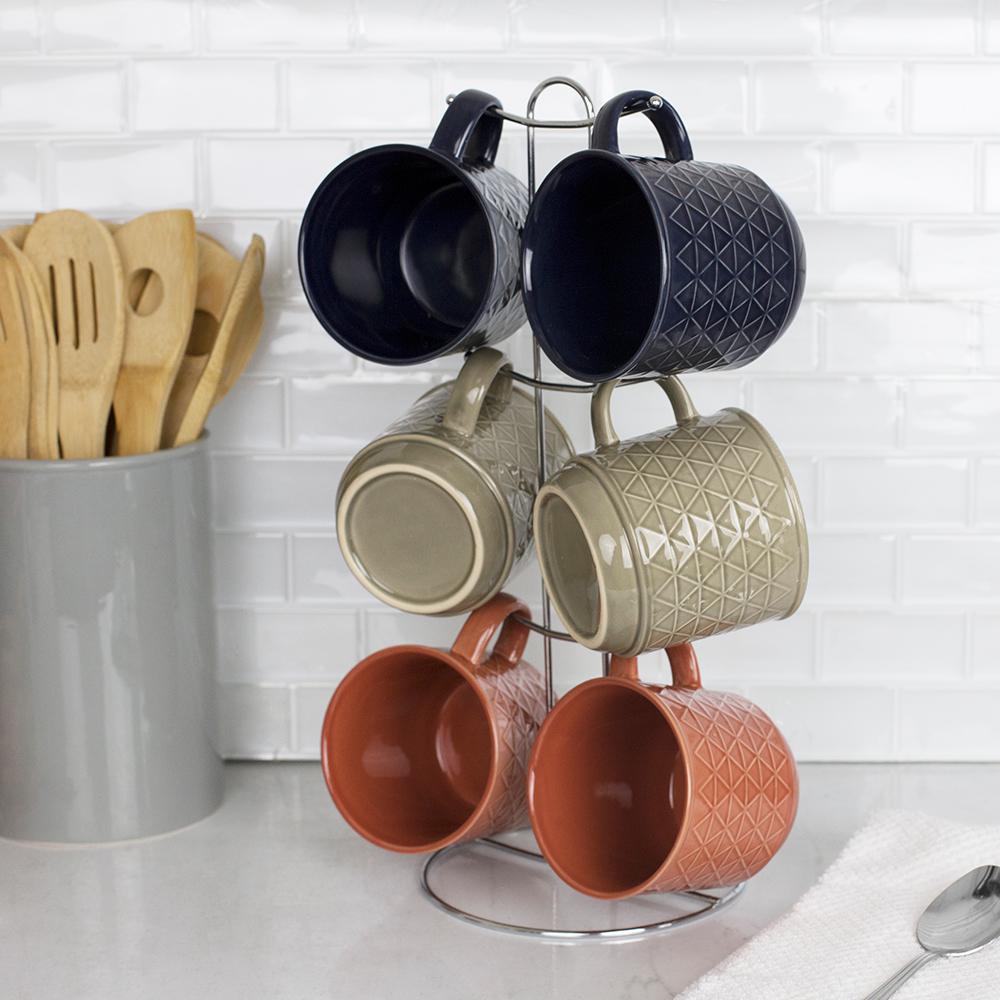 Chequer 13.5 oz. Multi-Color Stoneware Mug Set (Set of 6)