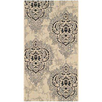 Courtyard Cream/Black 2 ft. x 4 ft. Indoor/Outdoor Rectangle Area Rug