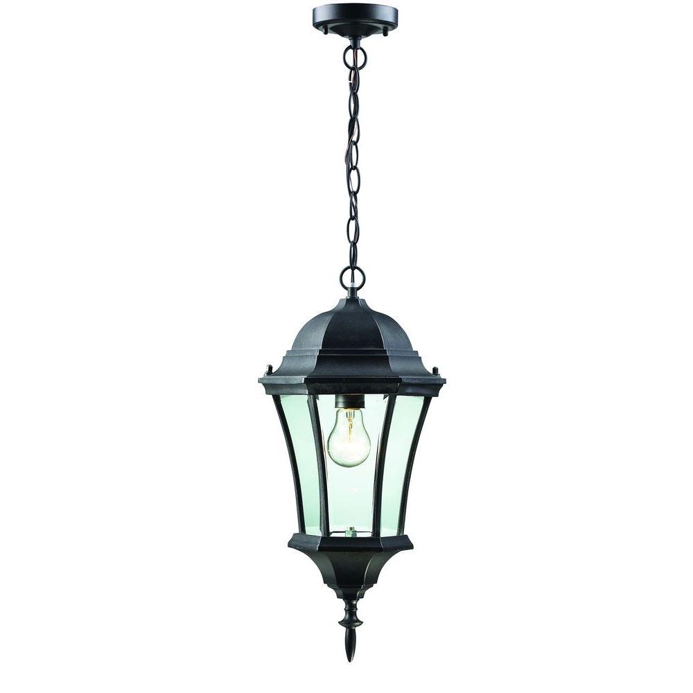 Lawrence 1-Light Black Incandescent Outdoor Hanging Pendant