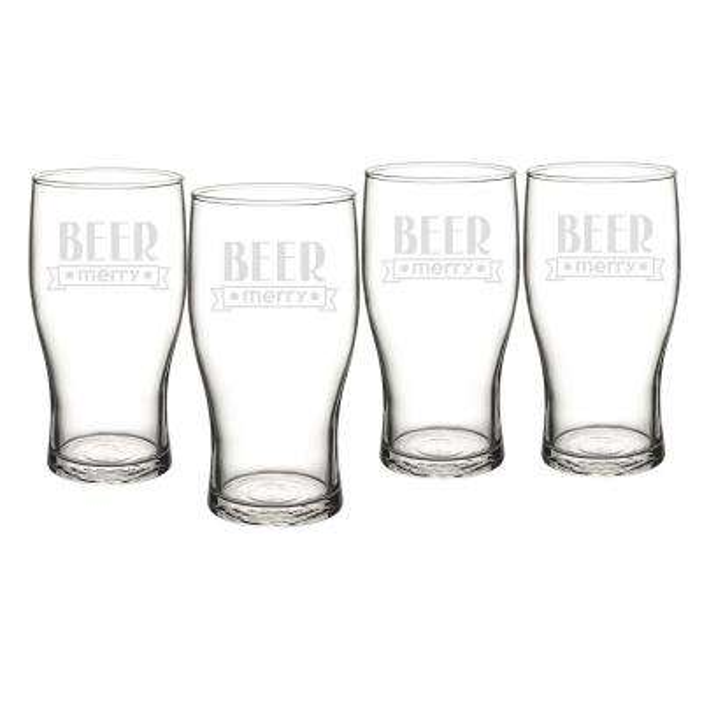 Beer Merry 3.1 in. x 6.25 in. Glass Christmas Pilsner Glasses