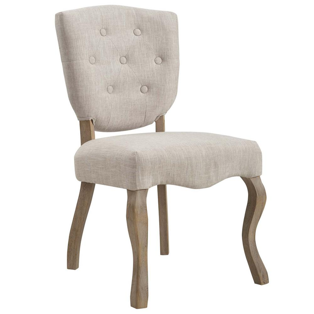 Array Beige Vintage French Upholstered Dining Side Chair