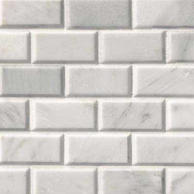 Greecian White Beveled 12 in. x 12 in. x 10 mm Polished Marble Mesh-Mounted Mosaic Tile