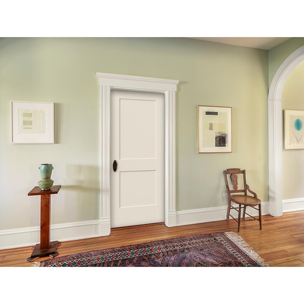 32 in. x 80 in. Monroe Primed Left-Hand Smooth Solid Core Molded Composite MDF Single Prehung Interior Door