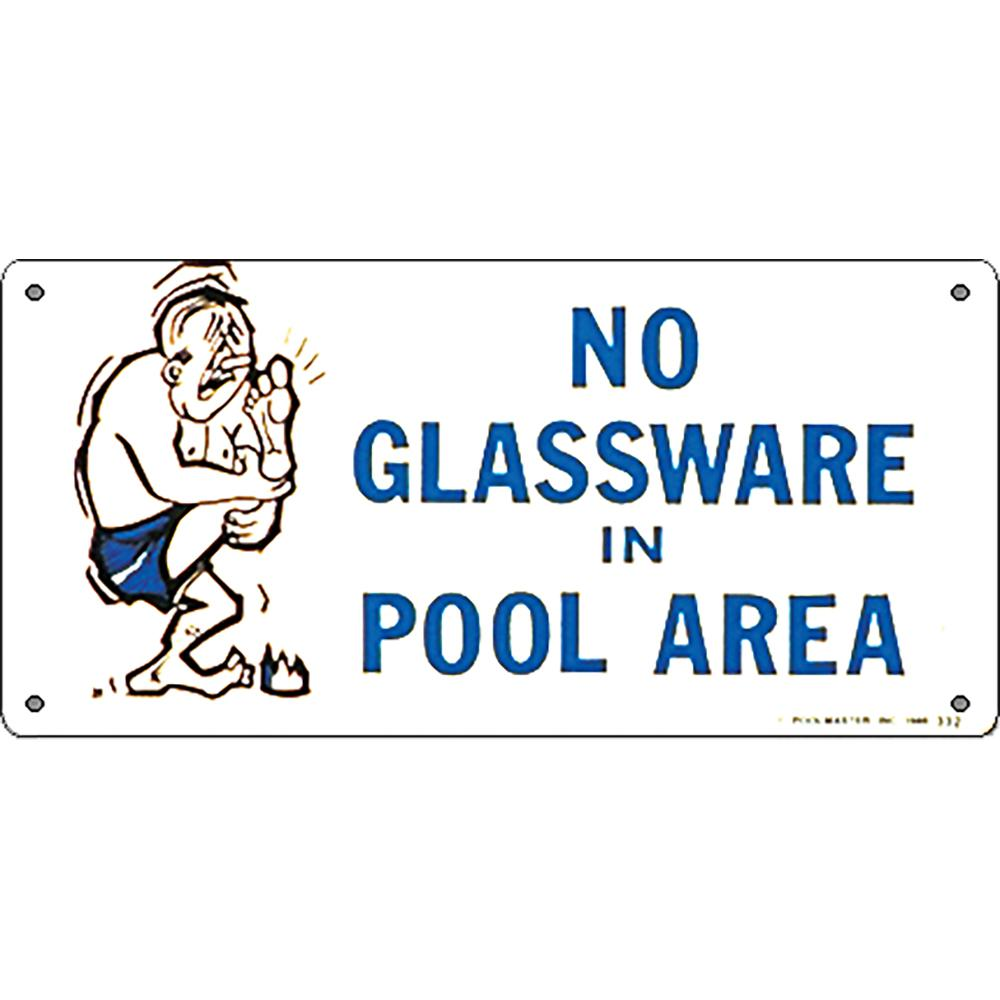 Poolmaster Residential or Commercial Swimming Pool Signs, No Glassware