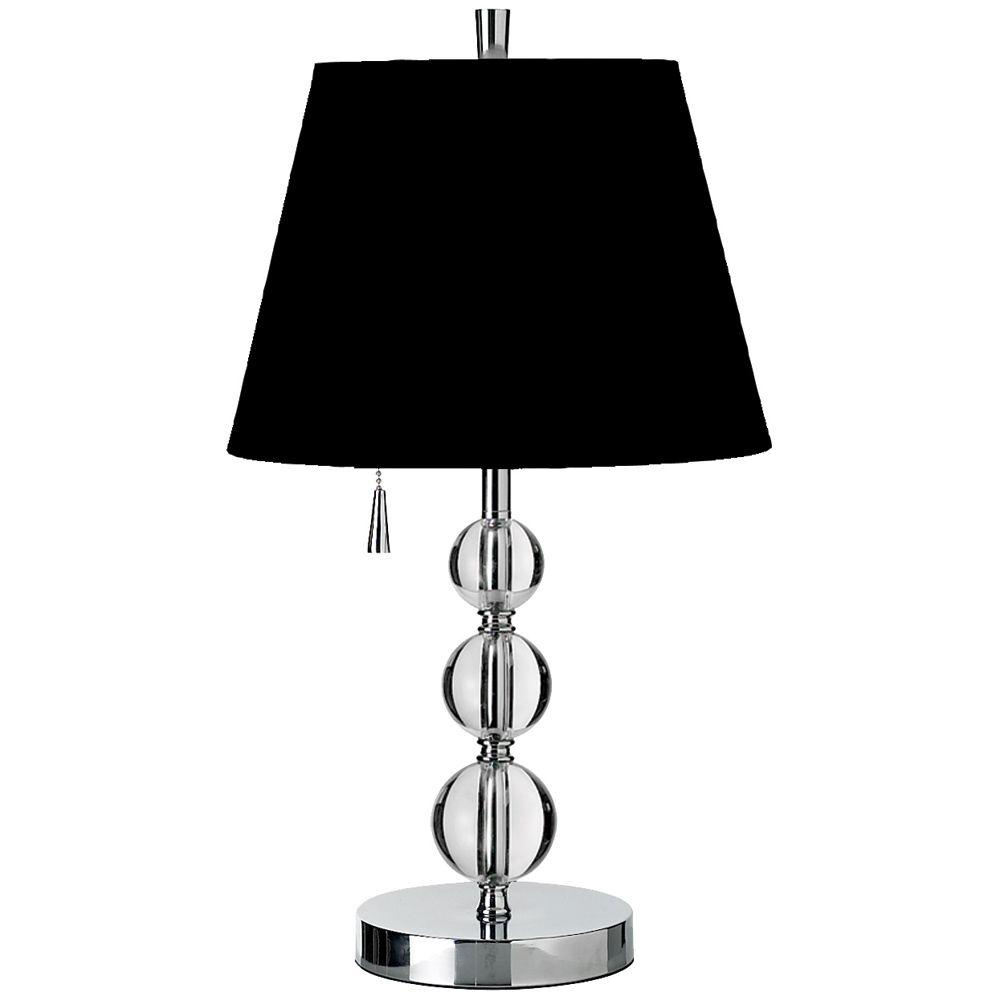 Catherine 20 in. Polished Chrome Table Lamp with Black Linen Shade