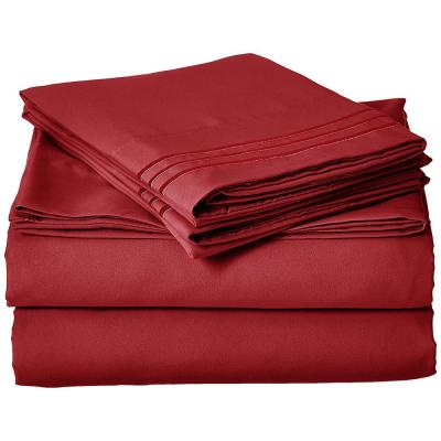 1500 Series 4-Piece Burgundy Triple Marrow Embroidered Pillowcases Microfiber Twin XL Size Bed Sheet Set