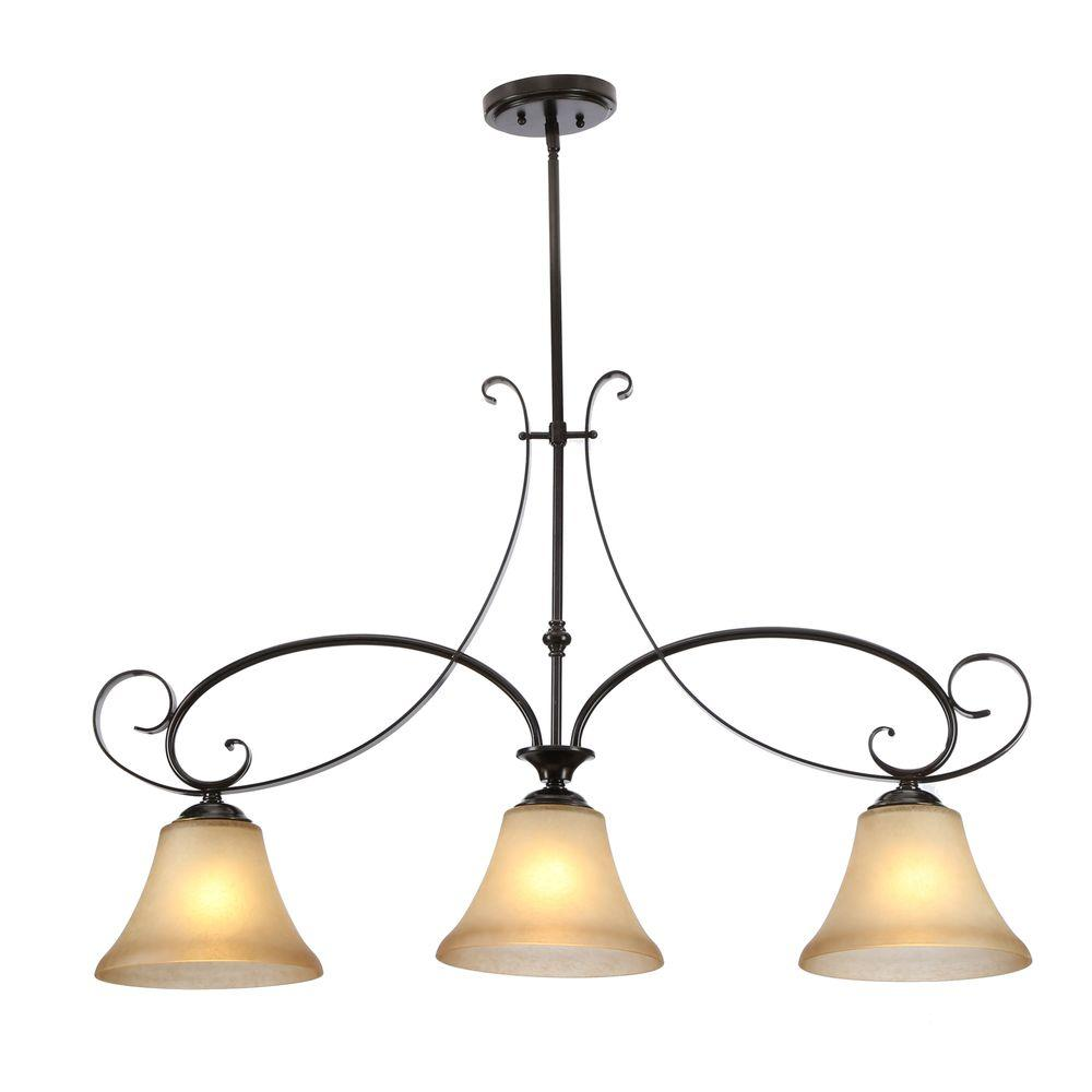 Hampton Bay Es 3 Light Aged Black Island Pendant With Tea Stained Gl Shade