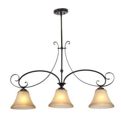 Essex 3-Light Aged Black Island Pendant with Tea Stained Glass Shade