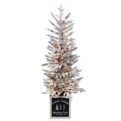 5 ft. Pre-Lit Flocked Full PE Potted Artificial Christmas Tree With 100 Clear Lights