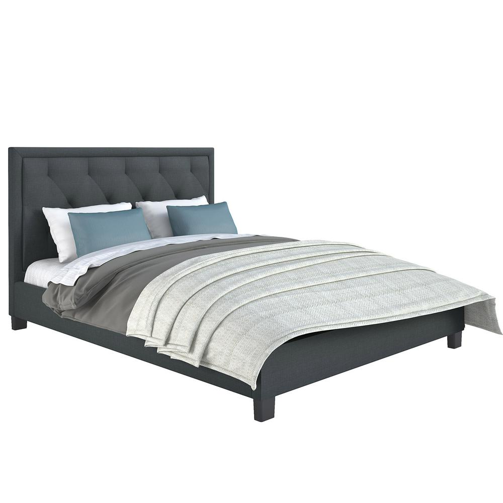 corliving fairfield blue grey diamond tufted upholstered queen bed bff 565 q the home depot. Black Bedroom Furniture Sets. Home Design Ideas