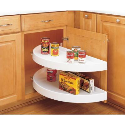 15.875 in. H x 12 in. W x 31 in. D White Polymer 2-Shelf Half Moon Door Mount Lazy Susan and Blind Corner Optimizer