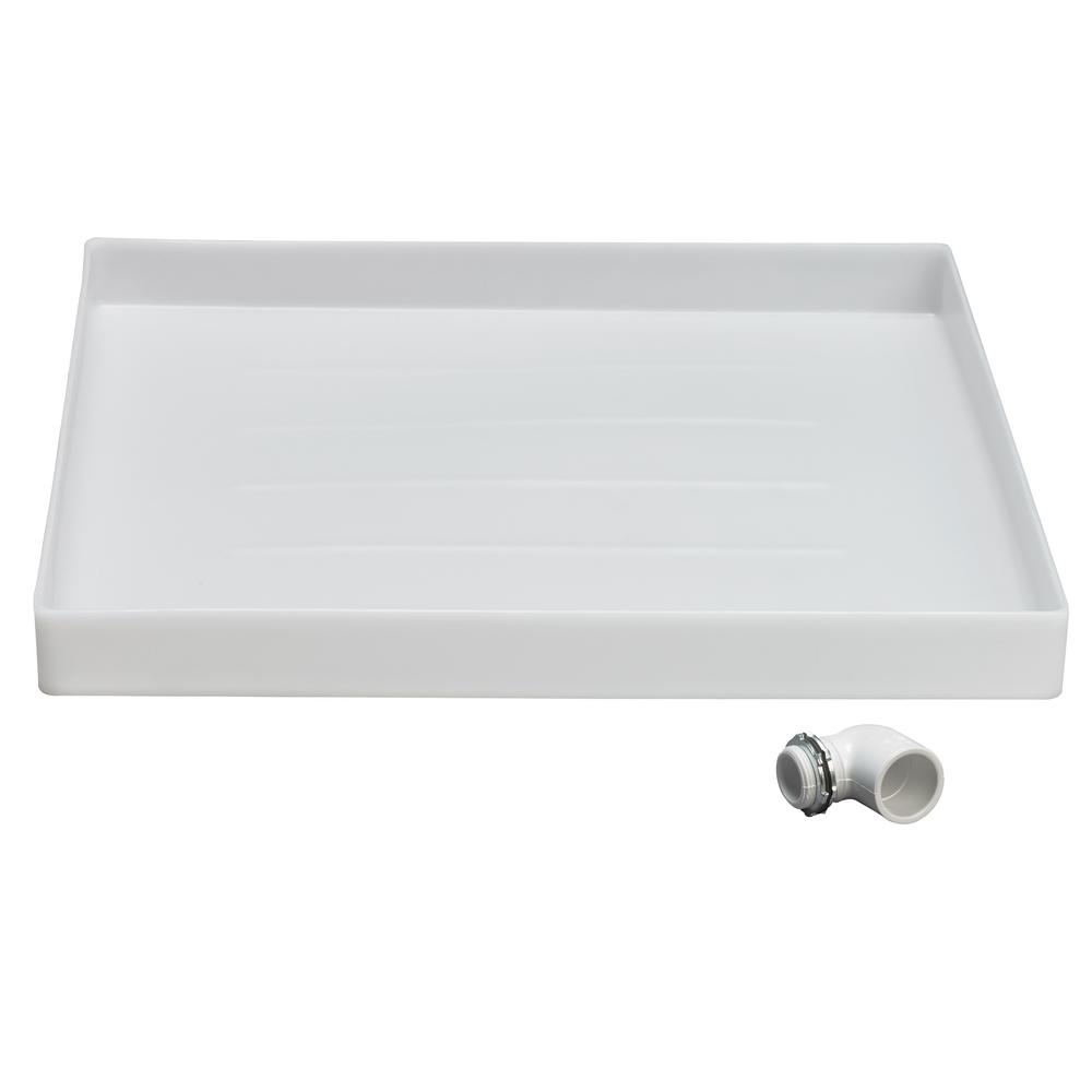 MUSTEE Durapan 24.5 in. x 24.5 in. Washing Machine Pan with 1 in. Furnished Drain Adapter Made from an impact resistant thermoplastic, this Washing Machine Pan with 1 in. Furnished Drain Adapter is designed to fit in small spaces for stacked washer and dryers.