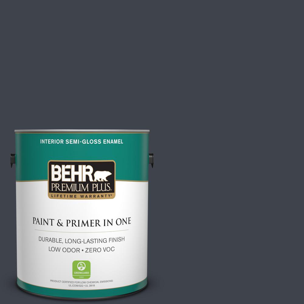 1-gal. #740F-7 Night Shade Zero VOC Semi-Gloss Enamel Interior Paint