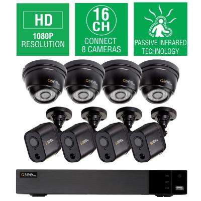 16-Channel 1080p 2TB HD Video Surveillance System with 4 Dome and 4 PIR Bullet Cameras and 100 ft. Night Vision
