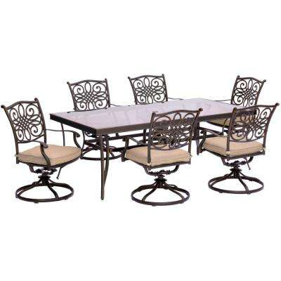 Traditions 7-Piece Aluminum Outdoor Dining Set with Rectangular Glass Table and Swivel Chairs with Natural Oat Cushions