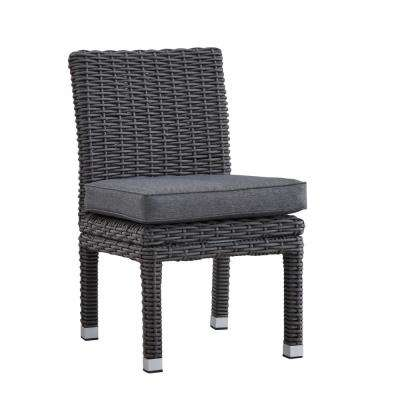 Camari Charcoal Armless Wicker Outdoor Dining Chair with Gray Cushion (Set of 2)