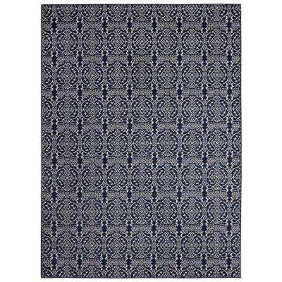 Alpina Collection Navy and Ivory 7 ft. 10 in. x 9 ft. 10 in. Floral Damask Area Rug