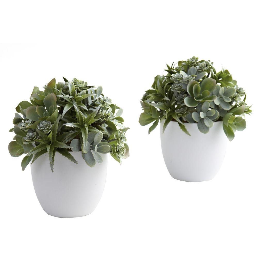 Nearly Natural Mixed Succulent with White Planter (Set of 2)